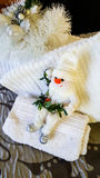 Christmas decorations on towels for holiday visitors Stock Photography