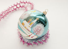 Christmas decorations. Christmas toy in the shape of a sphere with the image of the Orthodox Church Royalty Free Stock Photos