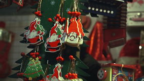 Christmas decorations and toys in the christmas shop stock footage