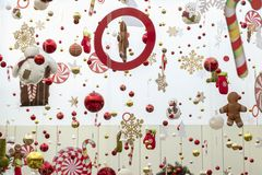 Christmas decorations and toys hang on thin threads. Free space for design. Copy space for any label. Abstract background of New royalty free stock photos