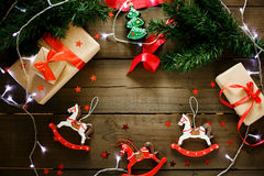 Christmas decorations in traditional red and green colors. With Xmas lights. Christmas vintage toys. Top view, great for text royalty free stock photography