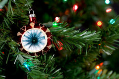 Christmas decorations in tree. Background ball Stock Photo