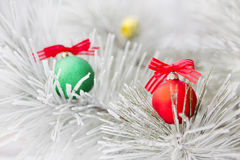 Christmas decorations on a tree in frost Royalty Free Stock Image