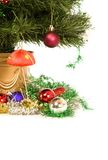 Christmas decorations and tree. Isolated Stock Photography