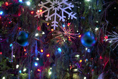 Christmas decorations on a tree Royalty Free Stock Images