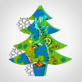 Christmas decorations. Tree of native with abstract forms  and stars of snow Stock Image