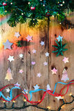 Christmas decorations with tree, stars and lights Stock Photos