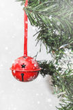 Christmas decorations on tree under snow Royalty Free Stock Photos