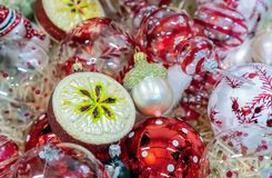 Christmas decorations on the Christmas tree of various shapes and sizes royalty free stock photo