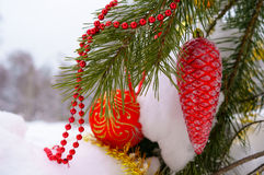 Christmas decorations on the tree in winter wood. Royalty Free Stock Image