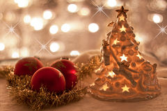 Christmas decorations with twinkling lights Stock Photo