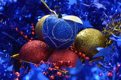 Christmas decorations. Variety of christmas tree ornaments Royalty Free Stock Photo