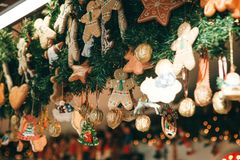 Christmas Decorations. Various Gingerbreads And Other Decorations On A Christmas Tree Royalty Free Stock Photos