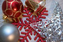 Christmas decorations different shapes stock images