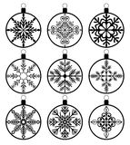 Christmas decorations vector balls. Silhouette Royalty Free Stock Photo