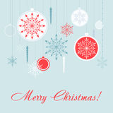 Christmas decorations vector card set. New Year background with snowflakes. Royalty Free Stock Images