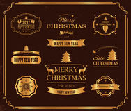 Christmas Decorations Vector Design Elements. Symbols, Icons, Vintage Labels, Badges, Ornaments and Ribbon Royalty Free Stock Photos