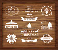 Christmas Decorations Vector Design Elements. Symbols, Icons, Vintage Labels, Badges, Ornaments and Ribbon Stock Photos