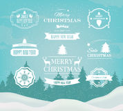 Christmas Decorations Vector Design Elements. Symbols, Icons, Vintage Labels, Badges, Ornaments and Ribbon vector illustration