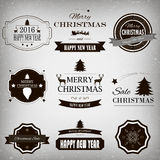 Christmas Decorations Vector Design Elements. Typographic elements, Symbols, Icons, Vintage Labels, Badges, Ornaments and Ribbon Royalty Free Stock Photo
