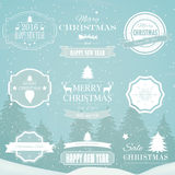 Christmas Decorations Vector Design Elements. Typographic elements, Symbols, Icons, Vintage Labels, Badges, Ornaments and Ribbon Stock Image