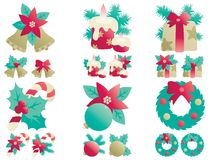 Christmas decorations. Vector icons set  of Christmas decorations Stock Image