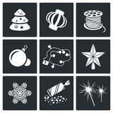 Christmas decorations Vector Icons Set Royalty Free Stock Photography