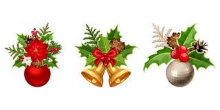 Christmas decorations. Vector illustration. Royalty Free Stock Photo