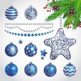 Christmas decorations. Vector set of Christmas decorations vector illustration