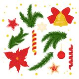 Christmas decorations vector set. Spruce branches, bell, stars with ornament, serpentine, ribbons, ball Stock Images