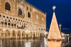 Christmas decorations in Venice, Italy royalty free stock photo