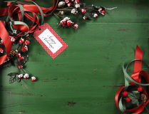 Christmas decorations on vintage green wood background. Royalty Free Stock Image