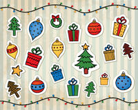 Christmas decorations on a vintage striped background Royalty Free Stock Photos