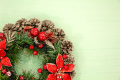 Christmas decorations Vintage Style. the concept of preparing for the holidays, turquoise shabby wooden table background. place  t Stock Photography