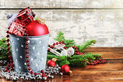 Christmas decorations in vintage style Royalty Free Stock Images