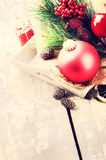 Christmas decorations in vintage style Royalty Free Stock Photo
