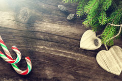 Christmas decorations in vintage style over old wood background Stock Images