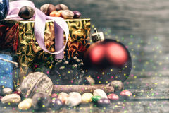 Christmas decorations.Vintage toned image.Fog drawn. Royalty Free Stock Images