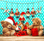 Christmas decorations with vintage toys and teddy bear Royalty Free Stock Photo