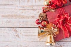 Christmas decorations on vintage white wood background.c Royalty Free Stock Photos