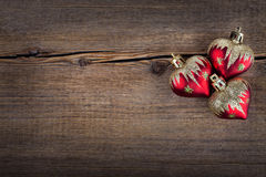 Christmas decorations on Vintage wooden background. New Year toy Stock Photo