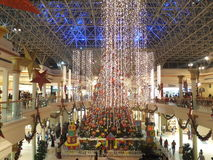 Christmas Decorations at Wafi Mall in Dubai. UAE.  The complex includes a mall, hotel, restaurants, residences, and a nightclub Stock Photo