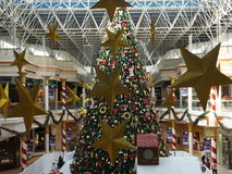 Christmas decorations at the Wafi Mall in Dubai, UAE. The complex includes a mall, hotel, restaurants, residences, and a nightclub Stock Photography