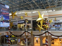 Christmas decorations at the Wafi Mall in Dubai, UAE. The complex includes a mall, hotel, restaurants, residences, and a nightclub Royalty Free Stock Photography