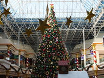 Christmas decorations at the Wafi Mall in Dubai, UAE. The complex includes a mall, hotel, restaurants, residences, and a nightclub Royalty Free Stock Photos