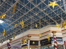 Christmas decorations at the Wafi Mall in Dubai, UAE. The complex includes a mall, hotel, restaurants, residences, and a nightclub Royalty Free Stock Photo