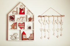 Christmas decorations on the wall Royalty Free Stock Photos