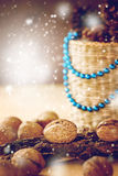 Christmas Decorations with Walnuts Royalty Free Stock Photos