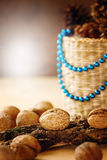 Christmas Decorations with Walnuts Royalty Free Stock Image