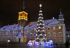 Christmas decorations in Warsaw. Christmas tree in Warsaw Old Town, Poland Stock Photography